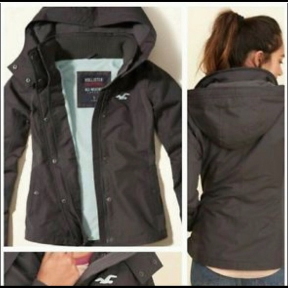 Hollister all weather coat jacket M grey blue hood